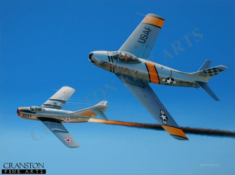 Already an ace in WWII, Ed Heller was again to find himself involved in aerial combat during the conflict in Korea, now flying the mighty F-86 Sabre with the 25th FIS, 51st FIW against the potent MiG15.  Moving to 16th FIS as Squadron Commander, he was to claim 3.5 victories over MiGs before being shot down himself in January 1953.  His release from captivity by the Chinese did not occur until two years after the war ended but, upon repatriation, he returned to the air flying F-100s during the Cuban Missile Crisis, finally retiring in 1967.  He is depicted here in <i>Hell-er Bust X</i>, claiming a MiG 15.