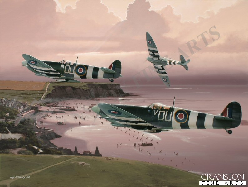 Seen here in company with other 485 Sqn machines, Spitfire Mk.IXc ML407 is depicted over the Normandy beaches shortly after D-Day.  Flown by New Zealander Fl Lt Johnnie Houlton, this aircraft claimed a Ju.88 on 6th June and shared in the destruction of another on the same day.  Coded 'V' in honour of his wife, Vickie, ML407 is still flying today, now converted to a two-seater and regularly displayed by Carolyn Grace.