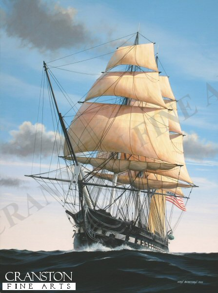 Launched in 1797, the USS Constitution was the third of her class to be constructed at Edmund Hartt's shipyard in Boston, Massachusetts, this fine ship spending most of her early years in local waters, protecting merchantmen from French marauders.  She is best remembered, however, for her decisive conquests against British ships during the war of 1812, among them the Guerriere against whom the Constitution gained her nickname 'Old Ironsides'.  She continued to serve until 1881 and is still afloat today, the oldest seagoing warship in the world.