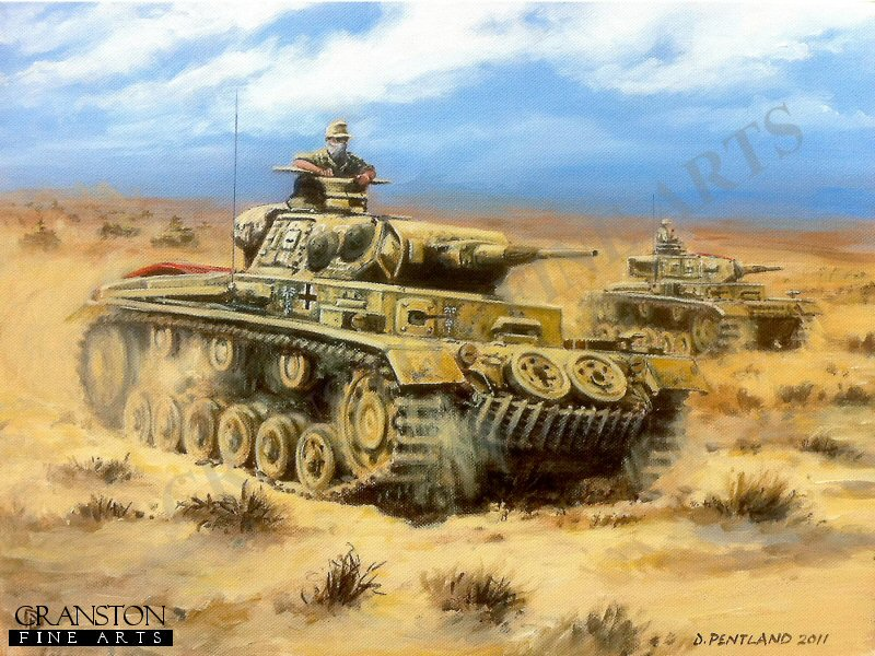 Egypt, North Africa, 26th May 1941. Two Panzer IIIG's of Rommel's Afrika Korps advance towards Halfaya Pass during Operation Skorpion. Following the recent loss of the pass to the British in Operation Brevity, the Afrika Korps launched a counter attack to regain the vital position, and forced the British under Lt. Gen. Gott back to Sofafi and Buq Buq.
