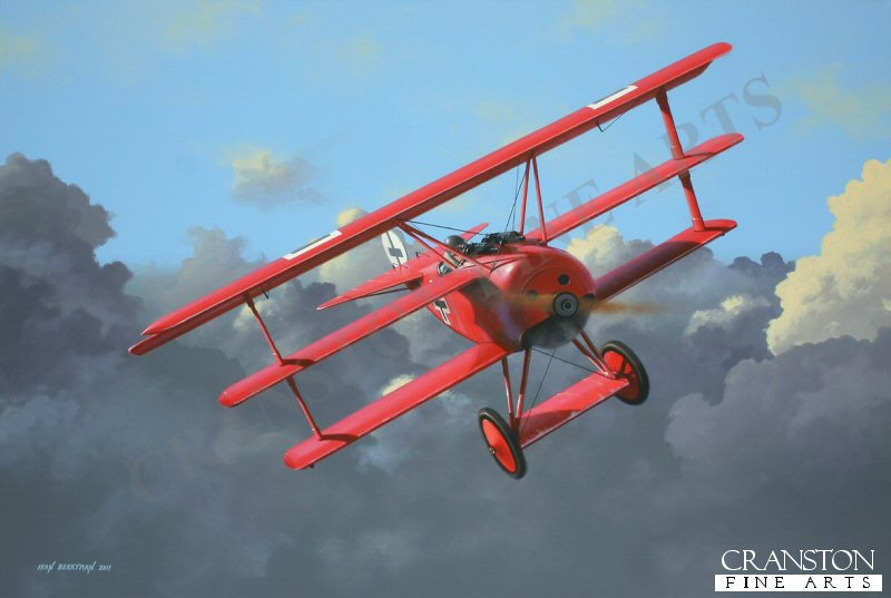 Arguably the best known of all World War 1 fighter aces, Mannfred von Richthofen, the &#39;Red Baron&#39;, is depicted here flying Fokker Dr.1, serial No 425/17, in its final livery following the introduction of the <i>Balkenkreuze</i>, early in 1918. Contrary to popular belief, this was the only Triplane flown by the <i>Rittmeister</i> that was painted all red and was also the aircraft in which he lost his life on 21st April 1918, the celebrated ace having scored a confirmed 80 victories against allied aircraft over France.