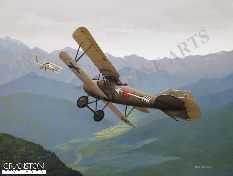 Born of Croatian parents in Sarajevo in 1893, Friedrich Navratil served under the Austro Hungarian flag throughout his considerable military career, becoming an outstanding pilot with Flik 3J on the Italian Front. He is depicted here chasing down a Hanriot of 72A Squadriglia da Caccia over Val del Concei in August 1918 to claim his third of ten victories. Navratil's distictive Albatross D.III (Oef) 253.06 was easily identifiable by his personalised 'Pierced Heart' emblem and is unusual in sporting the then new Balkenkeuz cross, untypical of Austro-Hungarian aircraft in WW1.