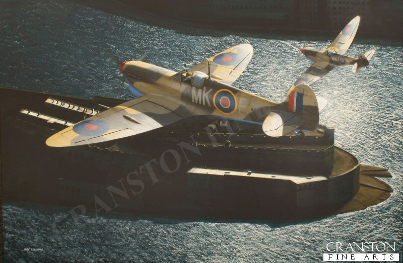 Fl. Lt. Ken Evans DFC is depicted flying Spitfire Mk Vc BR471 over Grand Harbour, Malta, during his posting to 126 Sqn in 1942 where he was credited with 5 enemy aircraft destroyed, 3 damaged and a further 3 probables. He was awarded the DFC in December 1942.