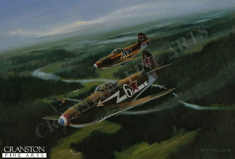 Yakolev Yak-3s of the Normandie Nedimen Regiment,, flown by French aces Marcel Albert in the foreground and Maurice Amarger down a Focke Wulf 190 over Stalluponen.