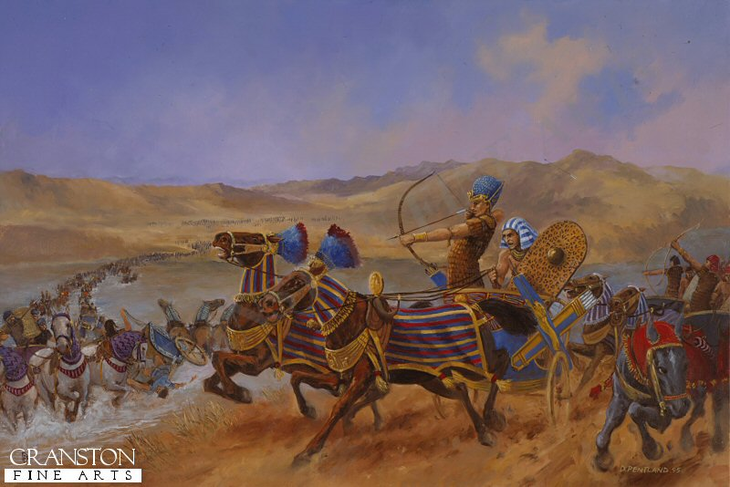 Rallying his men the young Pharoah Rameses II leads the Egyptian force in the decisive counter attack against the Hittite foes.