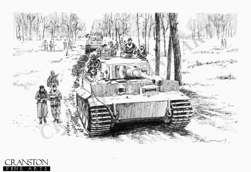 Tiger I tanks of Albert Kersher and Otto Carius, of 2nd Company Heavy tank Battalion 502, take part in the third operation designed and led by Graf von Strachwitz (Grossdeutschland Division) to destroy the final units of the dangerous Soviet bridgehead across the Narva river. <br><br><b>TWO PRINTS ONLY IN THIS SPECIAL PROMOTION</b> <br>