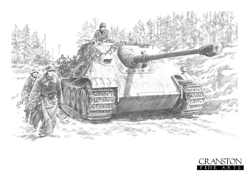 Jagdpanther self propelled 88mm anti-tank guns of Heavy Anti-tank Battalion 519 attached to 6th SS Panzer Army during the ill fated Ardennes offensive. Only the 1st company commanded by  Hautmann Erwin Kressmann took part in the campaign. <br><br><b>TWO PRINTS ONLY IN THIS SPECIAL NEWSLETTER PROMOTION.</b><br>