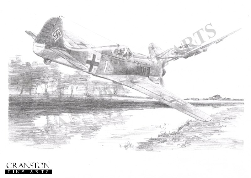 Riga, Latvia, 30th June 1944.  Recently promoted Leutnant Otto <i>Bruno</i> Kittel. of 3 Staffel, JG54, chases his quarry at treetop level during a late evening sortie.  The downing of this flying tank brought his tally on this day to 4, a Yak, a P39 and two Sturmoviks.  Although not well known, Kittel was the fourth highest ranking ace, with 267 victories to his credit, including some 94 of the dreaded Sturmoviks.