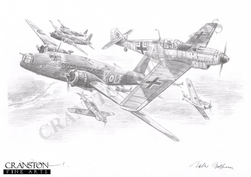 Heligoland, German coast, 18th December 1939.  Johannes <i>Macky</i> Steinhoff attacking Vickers Wellington bombers of No.37 Sqn.  A raiding force of 22 RAF Wellington Ia bombers from 9, 37 and 149 squadrons was intercepted by some 60 Me109 and Me110s.  First to engage were 6 Me109Ds from Oberleutnant Johannes <i>Macki</i> Steinhoff &#39;s NG26&#39;s experimental night fighter staffel. In the running battle that followed Steinhoff and Feldwebel Szuggar claimed 1 bomber each.  It was a disasterous day for the RAF with a total of 12 aircraft being shot down and another 6 crash landing on their return to England.