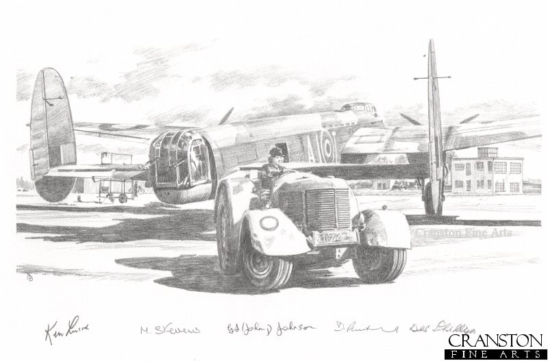 Lancaster AJ-T of No.617 Sqn being towed by tractor to its dispersal slot by a Women's Auxiliary Air Force driver at Scampton, May 1943, in preparation for Operation Chastise.