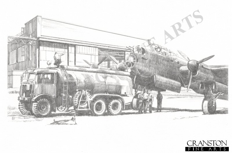 Lancaster of 617 Sqn refueling at Scampton, May 1943, in preparation for Operation Chastise. <br><br><i>This print has some light handling damage to outer edge of border.  If we sold framed prints, we would frame these up and sell them as new, the damage is so light.  Instead we have reduced the price online to reflect the minor damage. <br><a href=https://www.military-art.com/mall/border-damage.php>Please click here for a list of all our stock in this category</a>.</b><br><br>