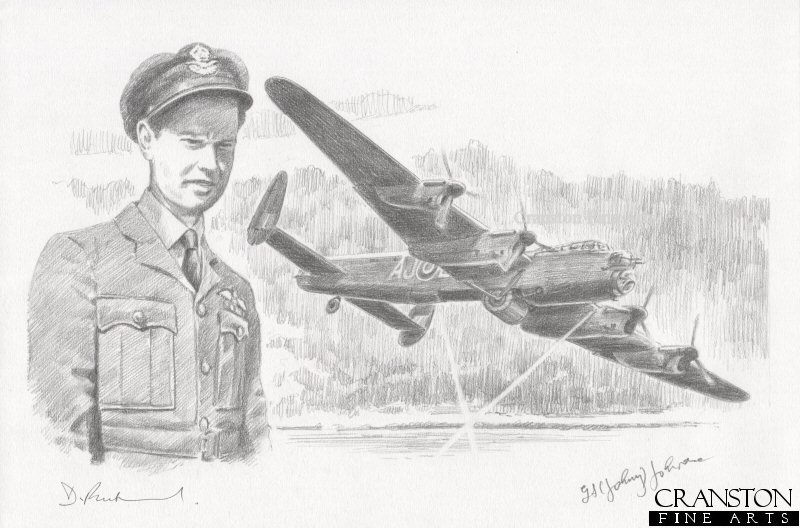 The image shows Lancaster AJ-L lining up for the attack on the Eder dam.  Alongside is the portrait of AJ-L pilot Flt Lt D J Shannon.  The first aircraft to attempt an attack the Eder dam, AJ-L made several unsuccessful attempts at lining up to drop the bomb, hampered by the difficult approach to the dam.  After allowing AJ-Z to drop its bomb, AJ-L made a final successful attack on the dam, its bomb exploding accurately, but failing to cause a breach.  The aircraft returned to base safely.<br><br><b>Crew of <i>L for Leather</i> :</b><br><br>Pilot : Flt Lt D J Shannon<br>Flight Engineer : Sgt R J Henderson<br>Navigator : Flg Off D R Walker<br>Wireless Operator : Flg Off B Goodale<br>Bomb Aimer : Flt Sgt L J Sumpter<br>Front Gunner : Sgt B Jagger<br>Rear Gunner : Flg Off J Buckley.