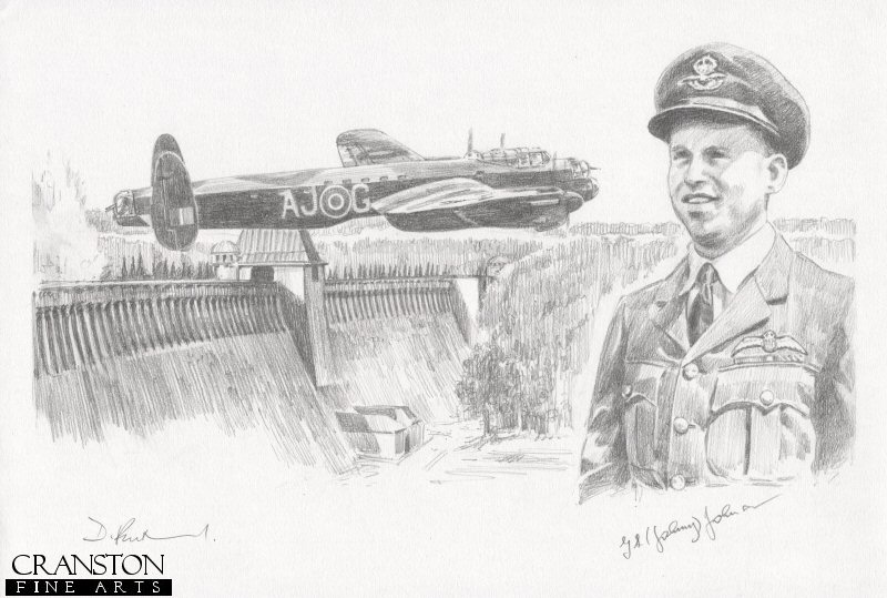 The image shows Lancaster AJ-G attacking the Mohne dam.  Alongside is the portrait of AJ-G pilot Wing Cdr G P Gibson.  The very first aircraft to attack the dams, AJ-G dropped its bomb short of the Mohne, but drew anti-aircraft fire away from the following Lancasters, before returning home safely<br><br><b>Crew of <i>G for George</i> :</b><br><br>Pilot : Wing Cdr G P Gibson<br>Flight Engineer : Sgt J Pulford<br>Navigator : Plt Off H T Taerum<br>Wireless Operator : Flt Lt R E G Hutchison<br>Bomb Aimer : Plt Off F M Spafford<br>Front Gunner : Flt Sgt G A Deering<br>Rear Gunner : Flt Lt R D Trevor-Roper.