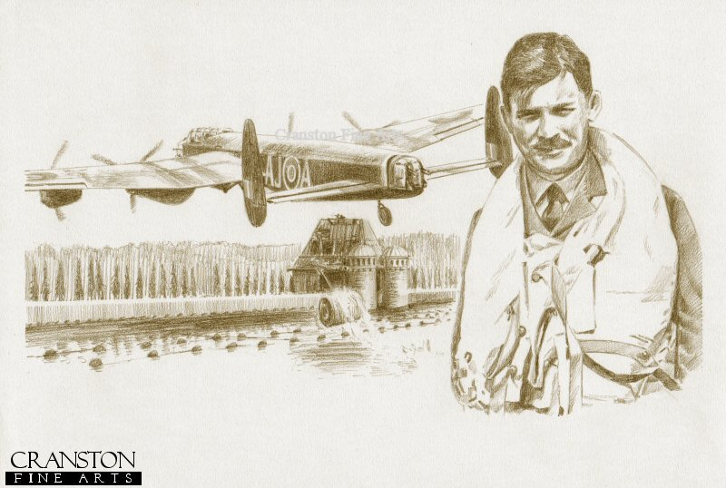The image shows Lancaster AJ-A attacking the Mohne dam, successfully causing a small breach.  Alongside is the portrait of AJ-A pilot Sqn Ldr H M Young.  This aircraft was shot down over the Dutch coast on the return journey, with the loss of all crew. <br><br><b>Crew of <i>A for Apple</i> :</b><br><br>Pilot : Sqn Ldr H M Young<br>Flight Engineer : Sgt D T Horsfall<br>Navigator : Flt Sgt D W Roberts<br>Wireless Operator : Sgt L W Nichols<br>Bomb Aimer : Flg Off V S MacCausland<br>Front Gunner : Sgt G A Yeo<br>Rear Gunner : Sgt W Ibbotson.  <br><br><i>This print has some light handling damage to outer edge of border.  If we sold framed prints, we would frame these up and sell them as new, the damage is so light.  Instead we have reduced the price online to reflect the minor damage. <br><a href=https://www.military-art.com/mall/border-damage.php>Please click here for a list of all our stock in this category</a>.</b><br><br>