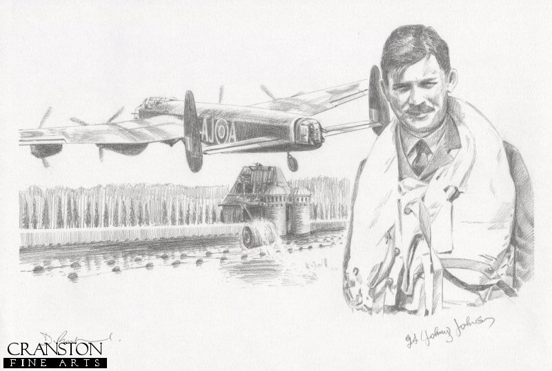 The image shows Lancaster AJ-A attacking the Mohne dam, successfully causing a small breach.  Alongside is the portrait of AJ-A pilot Sqn Ldr H M Young.  This aircraft was shot down over the Dutch coast on the return journey, with the loss of all crew. <br><br><b>Crew of <i>A for Apple</i> :</b><br><br>Pilot : Sqn Ldr H M Young<br>Flight Engineer : Sgt D T Horsfall<br>Navigator : Flt Sgt D W Roberts<br>Wireless Operator : Sgt L W Nichols<br>Bomb Aimer : Flg Off V S MacCausland<br>Front Gunner : Sgt G A Yeo<br>Rear Gunner : Sgt W Ibbotson.