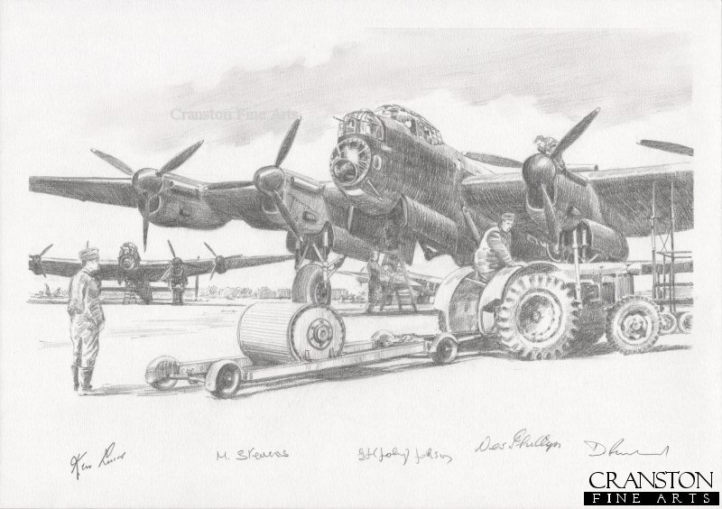 RAF Scampton, 16th May 1943.  Ground crew deliver the top secret bouncing bombs to the Lancasters of 617 Squadron in preparation for Operation Chastise.
