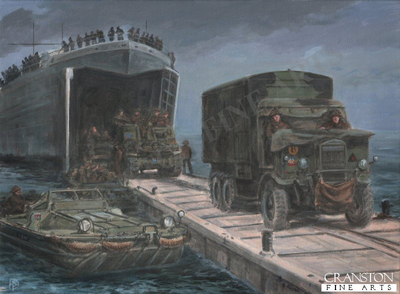 Normandy, Mid-June 1944.  A REME Leyland Retriever mobile workshop truck and M7 Priest SP gun of 33rd Field Regiment, Royal Artillery, 3rd Infantry Division, disembark from an LST at one of the <i>Whale</i> floating roadways that made up the British Mulberry B harbour at Arromanches.