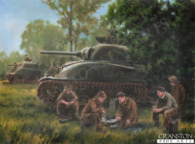 Colomby-Sur-Thaon, Normandy, 11th June 1944.  British Sherman MkII&#39;s of 4th Armoured Brigade, enjoy a tea break prior to being sent to support Canadian troops against an expected German attack.  The Brigade consisted of the 2nd Dragoon Guards <i>The Scots Greys</i>, 3rd County of London Yeomanry <i>The Sharpshooters</i>, and the 44th Royal Tank Regiment.