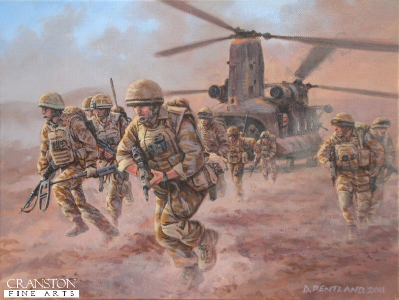 Helmand Province, Afghanistan, July 2009.  Troops from the Black Watch, 3 Battalion, Royal Regiment of Scotland (3 SCOTS) and Royal Engineers are deployed by RAF Chinook helicopters as part of Operation Panther's Claw.