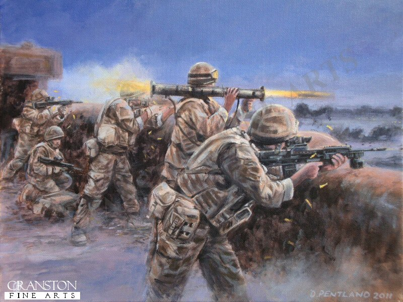 Helmand Province, Afghanistan, April 2007.  Troops of 1st Battalion Royal Anglian Regiment engage Taliban insurgents from a compound roof at dusk during Operation Herrick 6.  In addition to small arms a one shot AT4 anti tank launcher is used against more difficult targets.