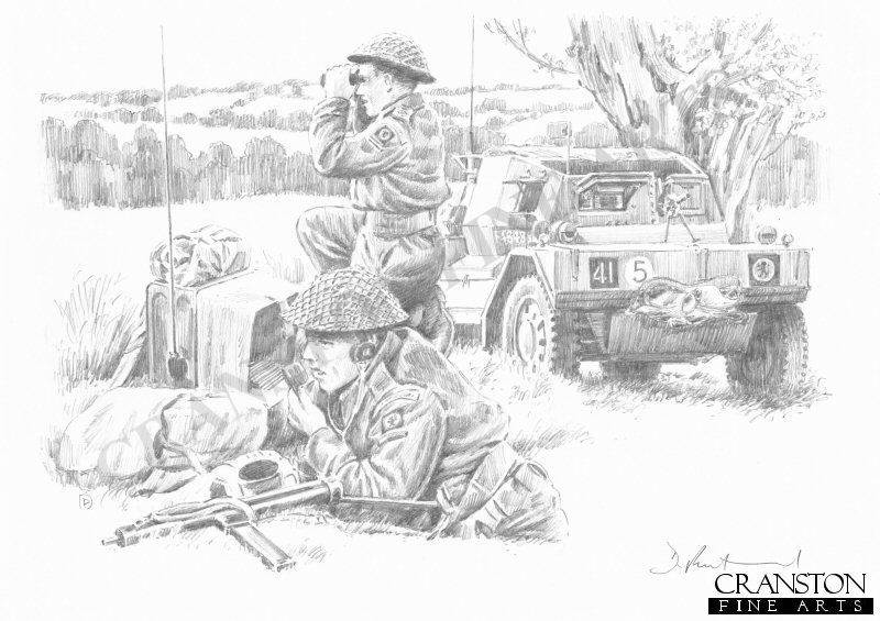 Cheux, Normandy, 25th June 1944. Royal Armoured Corps Recce troops of the 15th (Scottish) Infantry Division set up a temporary observation post to locate 12th SS Panzer Division positions, prior to Operation Epsom. The 15th Division comprised of 9th Cameronians, 2nd Glasgow Highlanders, 7th Seaforth Highlanders, 8th Royal Scots, 6th Royal Scots Fusiliers, 6th King's Own Scottish Borderers, 10th Highland Light Infantry, 2nd Gordon Highlanders and the 2nd Argyll and Sutherland Highlanders.