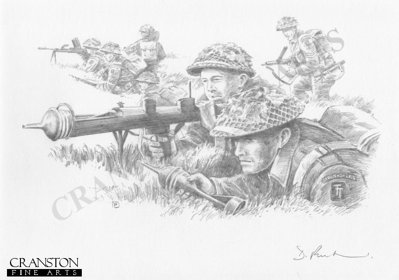 Gold Beach, Normandy, D-Day, 6th June 1944. A PIAT team and riflemen of the 6th Green Howards part of British 50th (Tyne Tees) Division, push inland in the direction of Caen.