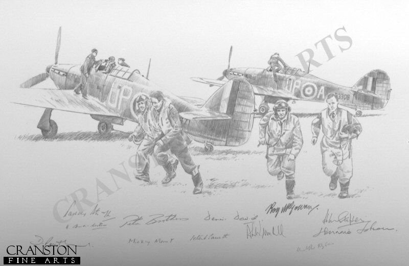 Hurricanes of No.605 Squadron, October 1940.  Aircraft pictured are P3308 UP-A of A A McKellar and N2471 of P Parrott.