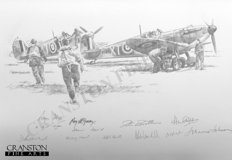 Spitfires of No.603 Squadron, 23rd November 1940.  The nearest aircraft is P7389 of Archie Winskill.
