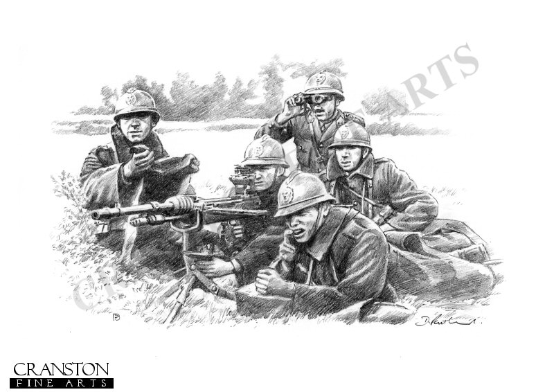 DP0268P. Defending the Homeland by David Pentland. Ardennes, Belgium 10th May 1940. Belgian infantry manning a Hochkiss machine gun await the advancing German army. The Hochkiss M1914 although outdated by 1940 was still a heavy and rock-steady combination of gun and tripod, the world's first efficient air-cooled machine gun, known for its reliability and accuracy.