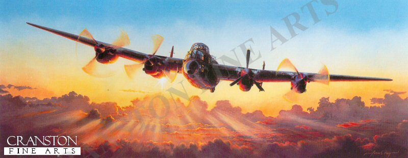 The Avro lancatser, the backbone of the Royal Air Force Bomber Command during world war two. The Avro Lancaster was a development from the Avro Manchester, and with its four Rolls Royce Merlin engines it was able to carry a substantial bomb load.  The Lancaster entered service in 1942, with 44 Squadron based at RAF Waddington and 97 Squadron based at RAF Woodhall Spa.  Superior range and payload capability meant the Lancaster was able to strike at the heart of Germany and the factories of their war machine.  <br><br><b>Print has some damage on border plus some ingrained light dust marks on top and bottom of image..</b> <br>