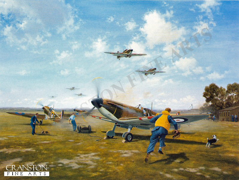A telephone rings at a typical flight dispersal: a call from Operations sends pilots and ground crew running for aircraft ready fuelled and armed. A mechanic starts the engine of the spitfire in the foreground and it explodes into life, blasting out blue exhaust gases, the slipstream flattening the grass and kicking up dust. A young sergeant pilot with feelings a mixture of fear and excitement, runs for his machine. The painting captures the tense atmosphere of a much repeated action from these crucial events of the Battle of Britain, as Spitfires of No.66 Squadron scramble. <br><br><b>TWO PRINTS ONLY IN THIS SPECIAL PROMOTION</b><br>