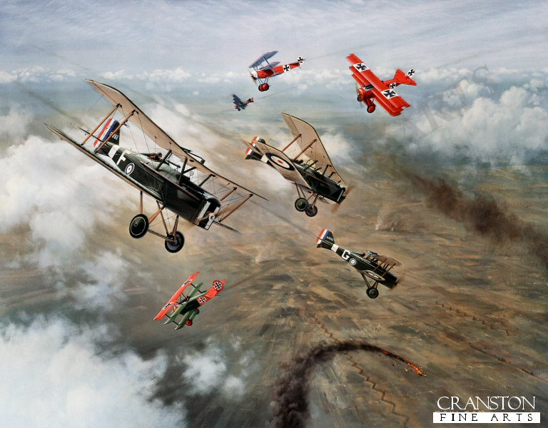 Royal Flying Corps SE5As of 56 squadron engaged in air combat with flying circus Fokker Dr1s commanded by the great German ace Baron von Richthofen, France 1917. <br><br><b>TWO PRINTS ONLY IN THIS SPECIAL PROMOTION</b> <br>