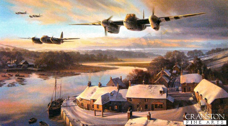 With their twin Merlins singing at full power, Mk FBV1 Mosquitos of 464 Squadron RAAF present a menacing picture as they set out on a precision low level mission, their streamlined, shark-like shapes silhouetted against the evening glow. Below, the tranquillity of a snow covered English coastal village is briefly disturbed as the Mosquito crews head into the night. <br><br><b>TWO PRINTS ONLY IN THIS SPECIAL PROMOTION</b><br>