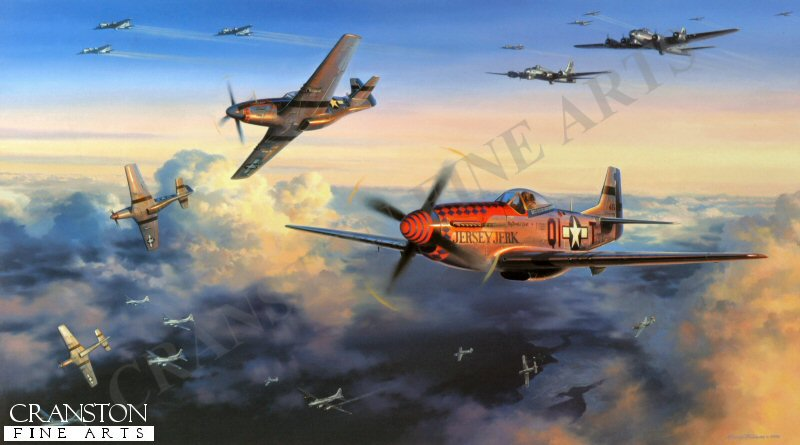 From the day they began their aerial campaign against Nazi Germany to the cessation of hostilities in 1945, the USAAF bomber crews plied their hazardous trade in broad daylight. This tactic may have enabled better sighting of targets, and possibly less danger of mid-air collisions, but the grievous penalty of flying daylight missions over enemy territory was the ever presence of enemy fighters. Though heavily armed, the heavy bombers of the American Eighth Air Force were no match against the fast, highly manoeuvrable Me109s, Fw190s and, late in the war, Me 262 jet fighters which the Luftwaffe sent up to intercept them. Without fighter escort they were sitting ducks, and inevitably paid a heavy price. Among others, one fighter group earned particular respect, gratitude, and praise from bomber crews for their escort tactics. The 356th FG stuck rigidly to the principle of tight bomber escort duty, their presence in tight formation with the bombers often being sufficient to deter enemy attack. Repeatedly passing up the opportunity to increase individual scores, the leadership determined it more important to bring the bombers home than claim another enemy fighter victory. As the air war progressed this philosophy brought about an unbreakable bond between heavy bomber crews and escort fighter pilots, and among those held in the highest esteem were the pilots of the 356th. Top scoring ace Donald J Strait, flying his P-51 D Mustang Jersey Jerk, together with pilots of the 356th Fighter Group, are seen in action against Luftwaffe Fw 190s while escorting B-17 bombers returning from a raid on German installations during the late winter of 1944. One minute all is orderly as the mighty bombers thunder their way homeward, the next minute enemy fighters are upon them and all hell breaks loose. <br><br><b>TWO PRINTS ONLY IN THIS SPECIAL PROMOTION</b><br>