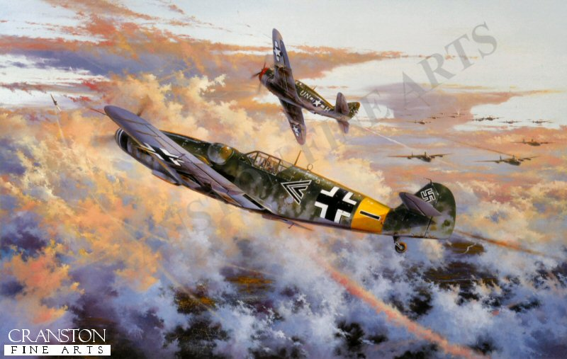 Flying his Messerschmitt Me109G6, Major Gunther Rall, Group Commander of II./JG11 with over 200 air victories already to his credit, clashes with a P-47 Thunderbolt of the 63rd Sqn, 56th Fighter Group high over the Rhine south of Koblenz, May 12, 1944. Led by Colonel Hub Zemke, the 56th Fighter Group played advance guard to a deep penetration bomber raid to central Germany. As his forty eight P-47 Thunderbolts arrived to sweep the sky around the Koblenz - Frankfurt area, the Me109s of II./JG11 pounced from a 5000 feet height advantage. Simon Atacks high-impact painting shows Major Gunther Rall bringing down Hub Zemkes wingman, the first of two victories he claimed before himself being brought down by 56th Fighter Group P-47s later in the combat. Gunther Rall returned to combat flying, commanding JG300 until the end of hostilities by which time, with 275 air victories, he became the third highest scoring Ace in history.  <br><br><b>TWO PRINTS ONLY IN THIS SPECIAL PROMOTION - Slight damage to the border.</b><br>