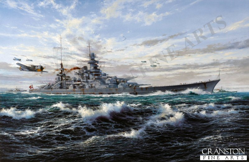 When the German battleships Scharnhorst and Gneisenau entered Brest in March, 1941, between them they had sunk a total of 22 ships during their North Atlantic operations. Laying in port however, they became a target for constant air attack, Scharnhorst being damaged by bombs, and in February 1942 the decision was made to break out with the famous Channel Dash. Scharnhorst led the flotilla in a daring passage through the English Channel, heading for the sanctuary of Wilhelmshaven. They all got through but, striking two mines en-route, it was March 1943 before the Scharnhorst was able to resume battle operations when, under heavy escort, she sailed for Norway. Simon Atacks panoramic seascape depicts a scene from Operation Paderborn as Scharnhorst ploughs through a lively swell with Fw190s of I./JG5, based at Oslo Fornebu, providing fighter cover. Steaming in company with destroyers Z-28 and Erich Steinbrinck, the mighty German battleship has departed Gotenhafen and is heading towards Bogen Bay, near Narvik in Norway. But Scharnhorsts days were numbered. On 26 December 1943 the huge battleship attacked a convoy off North Cape, but in the heavy seas Scharnhorst became detached from her destroyer escort. With the British Home Fleet aware of her position, and intentions, she was intercepted, the Britishbattleship Duke of York landing a barrage of 14-inch shells on the mighty German warship. The blows were fatal, the coup-de-grace coming shortly after, when 11 torpedoes sent the magnificent but deadly battleship quickly to the bottom. There were just 36 survivors. <br><br><b>TWO PRINTS ONLY IN THIS SPECIAL PROMOTION</b><br>