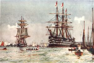 The St Vincent in Portsmouth Harbour by Charles Dixon.