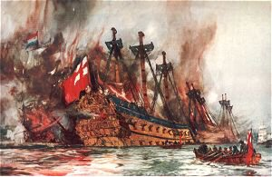 The Burning of the London by the Dutch by Charles Dixon.