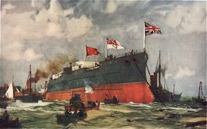The Launch of the London at Portsmouth by Charles Dixon.