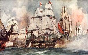 The Victory at Trafalgar. Nelsons Flagship Nearing the Santissima Trinidad by Charles Dixon.