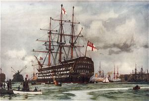 The Victory at Portsmouth. Came into Harbour from Last Commission Nov, 1812 by Charles Dixon.