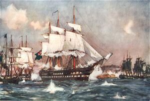 The Bombardment of St Jean D Acre by the British and Allied Squadrons by Charles Dixon.