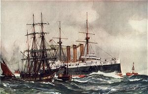 HMS Kent Passing South Sand Lightship by Charles Dixon.