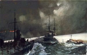 Torpedo Boats in Action at the Naval Manoeuvres by Charles Dixon.
