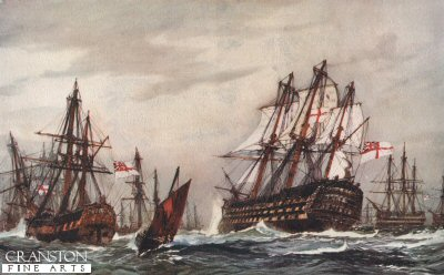 Bomb Ketches Saluting the Victory, December 1805 by Charles Dixon.