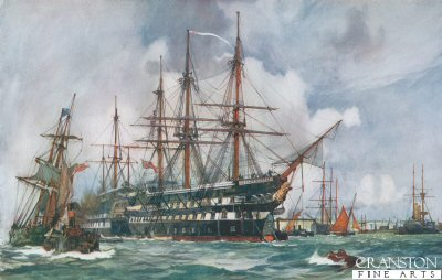 The Lion Training Ship at Devonport by Charles Dixon.