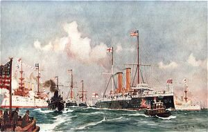 The Flagship Crescent at Bar Harbour 1900 by Charles Dixon.