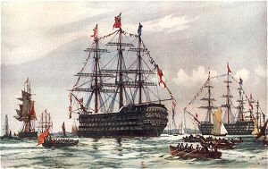 The Queen at the Spithead Review of 1845 by Charles Dixon.
