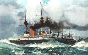 The Mars in the Channel Squadron, 1901 by Charles Dixon.
