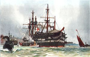 The Old Implacable (Duguay Trouin) at Devonport 1901 by Charles Dixon.